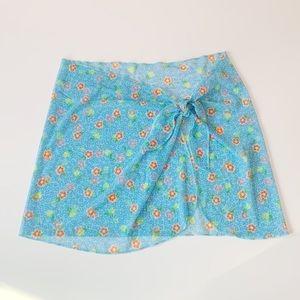 Other - Sheer flowery side tie skirt / swim coverup